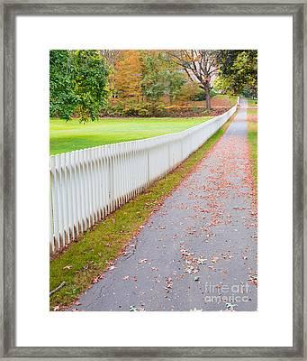 White Picket Fence Deerfield Ma Framed Print by Edward Fielding
