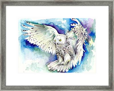 White Polar Owl - Wizard Dynamic White Owl Framed Print by Tiberiu Soos