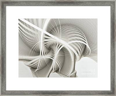 White Ribbons Spiral Framed Print by Karin Kuhlmann