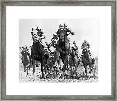 White River With Jockey Tommy Barrow Framed Print by Underwood Archives