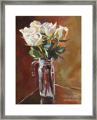 White Roses And Glass Framed Print by David Lloyd Glover