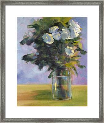 White Roses Framed Print by Nancy Merkle