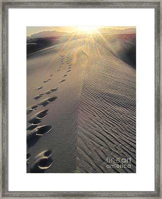 White Sands New Mexico Footsteps In The Sand Framed Print by Gregory Dyer