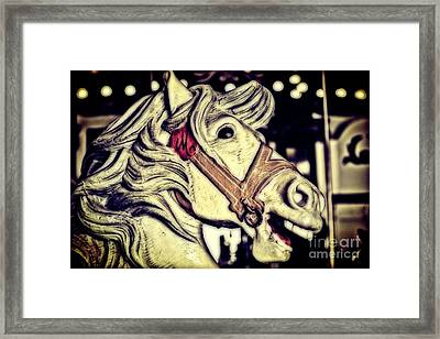White Steed - Antique Carousel Framed Print by Colleen Kammerer