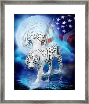 White Tiger Moon - Patriotic Framed Print by Carol Cavalaris