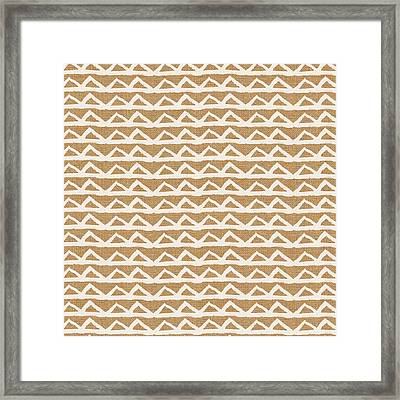 White Triangles On Burlap Framed Print by Linda Woods