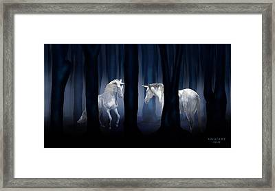 White Unicorns Framed Print by Virginia Palomeque