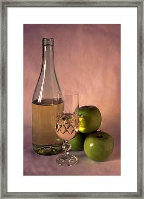 White Wine And Apples On Painted Background Framed Print by IB Photo