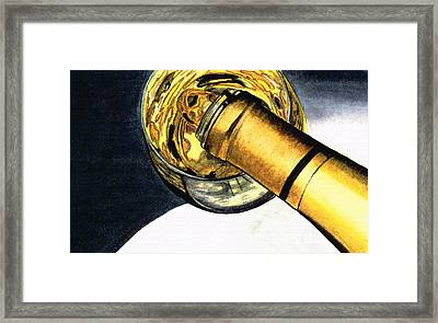 White Wine Art - Lap Of Luxury - By Sharon Cummings Framed Print by Sharon Cummings