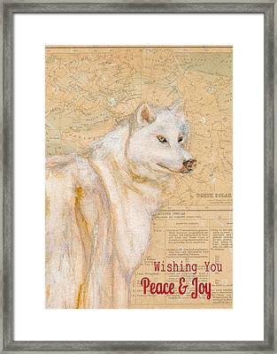 White Winter Wolf Framed Print by Andrea LaHue