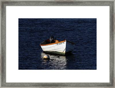 White Wooden Dinghy At Pamet Harbor On Cape Cod Framed Print by Juergen Roth