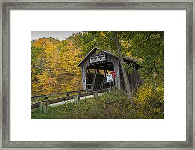 Whites Covered Bridge On The Flat River No.0333 Framed Print by Randall Nyhof