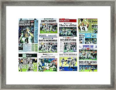 Who Dat Headlines Framed Print by Benjamin Yeager