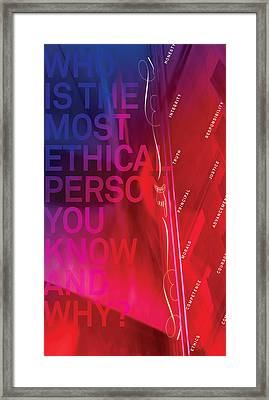 Who Is The Most Ethical Person.1 Framed Print by Page One Tang