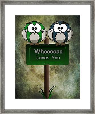 Whoooo Loves You  Framed Print by David Dehner
