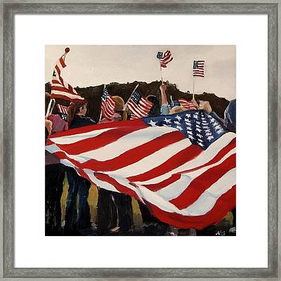 Whose Broad Stripes Framed Print by Nora Bergman