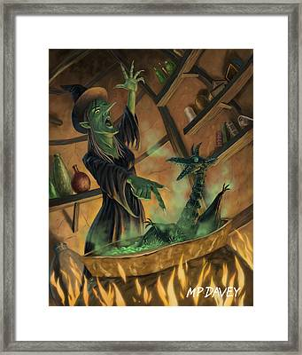 Wicked Witch Casting Spell Framed Print by Martin Davey