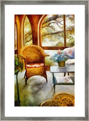 Wicker Chair And Cyclamen Framed Print by Michelle Calkins