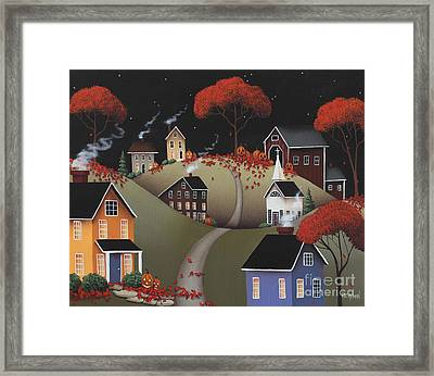 Wickford Village Halloween Ll Framed Print by Catherine Holman