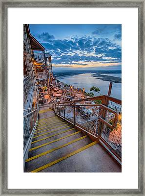 Wide Angle View Of The Oasis And Lake Travis - Austin Texas Framed Print by Silvio Ligutti