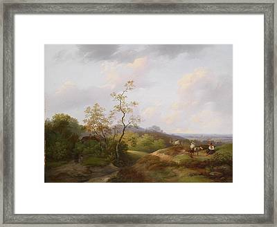 Wide Landscape With Shepherds Framed Print by Ignaz Raffalt