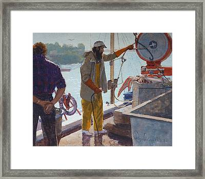 Wieghing The Catch Graymouth Framed Print by Terry Perham