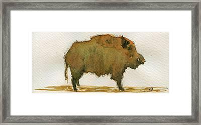Wild Boar Framed Print by Juan  Bosco