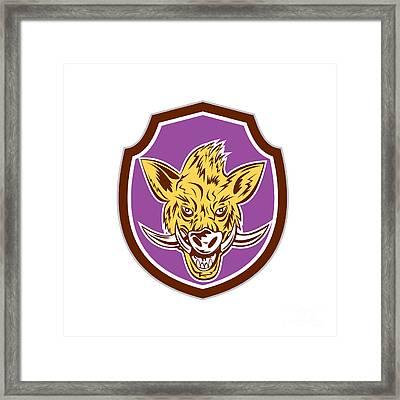 Wild Boar Razorback Head Shield Retro Framed Print by Aloysius Patrimonio