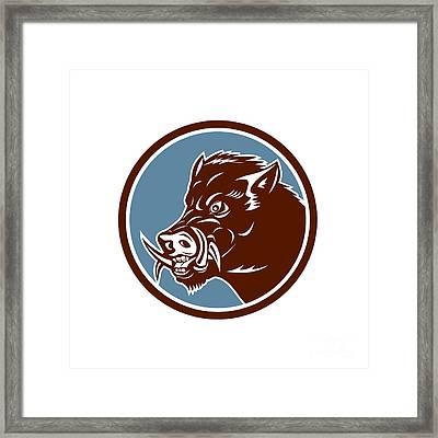 Wild Boar Razorback Head Side Circle Retro Framed Print by Aloysius Patrimonio