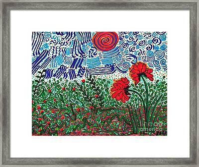 Wild Flowers Under Wild Sky Framed Print by Sarah Loft
