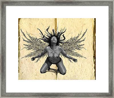 Fairy With Wings Of Leaves Framed Print by Kd Neeley