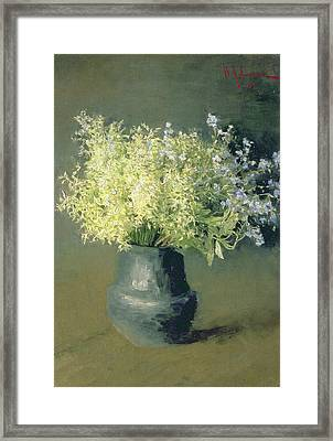 Wild Lilacs And Forget Me Nots Framed Print by Isaak Ilyich Levitan