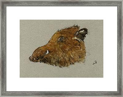 Wild Pig Framed Print by Juan  Bosco