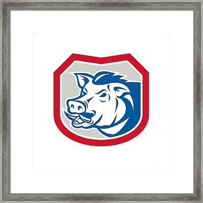 Wild Pig Razorback Head Shield Retro Framed Print by Aloysius Patrimonio