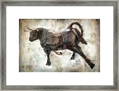 Wild Raging Bull Framed Print by Daniel Hagerman