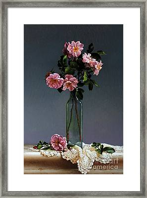 Wild Roses And Doily Framed Print by Larry Preston