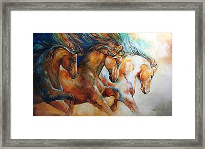 Wild Trio Run Framed Print by Marcia Baldwin
