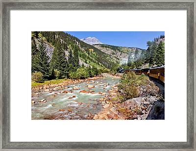 Wild West Train Ride Along The Animas River From Durango To Silverton Colorado Framed Print by Karen Stephenson