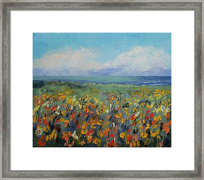 Wildflower Seascape Framed Print by Michael Creese