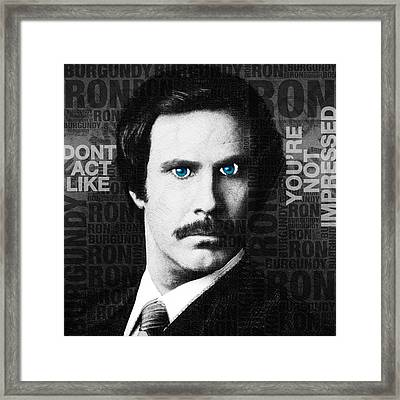 Will Ferrell Anchorman The Legend Of Ron Burgundy Words Black And White Framed Print by Tony Rubino