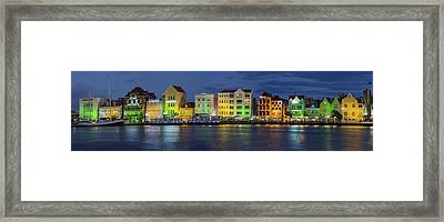 Willemstad Curacao At Night Panoramic Framed Print by Adam Romanowicz