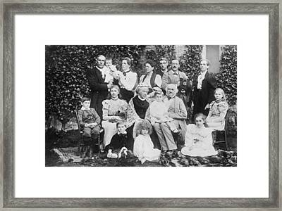 William Gladstone With Family Framed Print by Underwood Archives