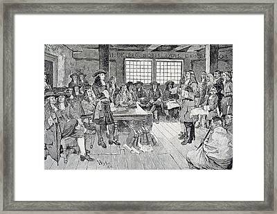 William Penn In Conference With The Colonists, Illustration From The First Visit Of William Penn Framed Print by Howard Pyle