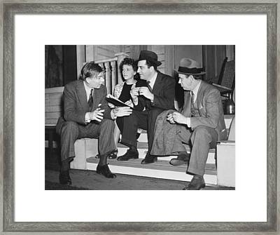 William Saroyan Discusses Play Framed Print by Underwood Archives