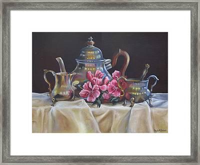 Williamsburg Stieff Tea Set Framed Print by Phyllis Beiser