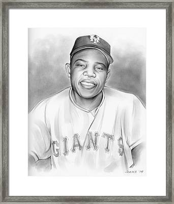 Willie Mays Framed Print by Greg Joens