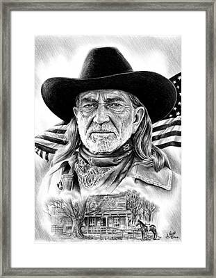 Willie Nelson Framed Print by Andrew Read
