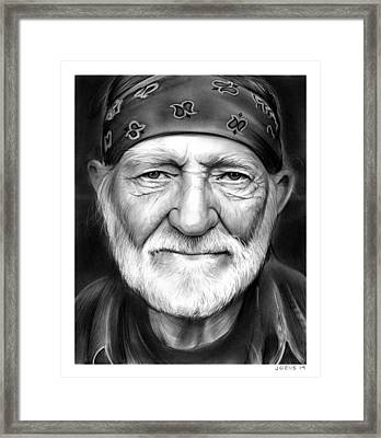 Willie Nelson Framed Print by Greg Joens