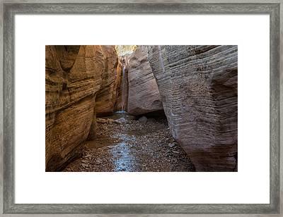 Willis Creek Slot Canyon Waterfall - Grand Staircase Escalante National Monument Utah Framed Print by Brian Harig