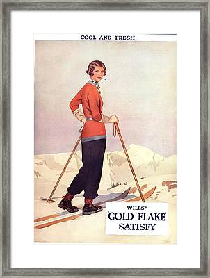 Will�s 1930s Usa Gold Flake Skiing Framed Print by The Advertising Archives